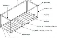 Schéma nosnej konštrukcie lodného kontajnera