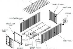 Schéma konštrukcie lodného kontajnera